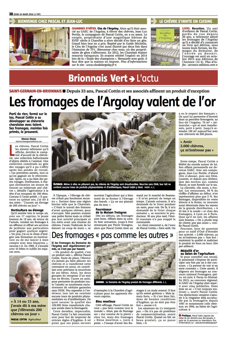Les fromages de l'Argolay valent de l'or... (2016)